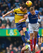 Oxford Utd Hylton wins header during the Sky Bet League 2 match between Portsmouth and Oxford United at Fratton Park, Portsmouth, England on 28 February 2015. Photo by Mark Davies.