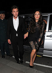 Kelly Brook enjoys a night out at Annabel's with Ben Caring and friends. Mayfair, London, UK. 24/09/2013<br />