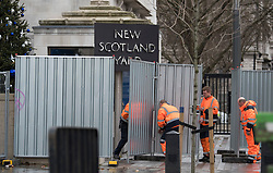 © Licensed to London News Pictures. 31/12/2017. Security barriers being erected around New Scotland Yard on the Embankment in Westminster today, ahead of New Year celebrations later this evening. Security around this years New Year's Eve celebrations in London have been increased in the wake of recent terror attacks.. Photo credit: Ben Cawthra/LNP