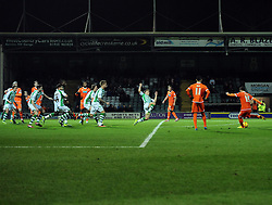 Blackpool's Stephen Dobbie hits the wall with his free kick - Photo mandatory by-line: Joe Meredith/JMP - Tel: Mobile: 07966 386802 03/12/2013 - SPORT - Football - Yeovil - Huish Park - Yeovil Town v Blackpool - Sky Bet Championship