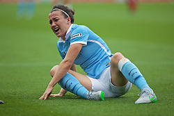 MANCHESTER, ENGLAND - Sunday, August 30, 2015: Manchester City's Lucy Bronze in pain with an injury during the League Cup Group 2 match against Liverpool at the Academy Stadium. (Pic by Paul Currie/Propaganda)