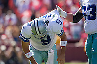 18 September 2011: Quarterback (9) Tony Romo of the Dallas Cowboys is helped up by teammate (63) Kyle Kosier against the San Francisco 49ers during the first half of the Cowboys 27-24 overtime victory against the 49ers in an NFL football game at Candlestick Park in San Francisco, CA