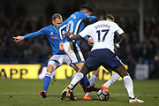 Matty Done, Ian Henderson challenge Sissoko during the The FA Cup match between Rochdale and Tottenham Hotspur at Spotland, Rochdale, England on 18 February 2018. Picture by Daniel Youngs.
