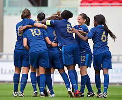 LLANELLI, WALES - Wednesday, August 28, 2013: France's Kadidiatou Diani celebrates scoring the second goal against Germany during the Semi-Final match of the UEFA Women's Under-19 Championship Wales 2013 tournament at Parc y Scarlets. (Pic by David Rawcliffe/Propaganda)