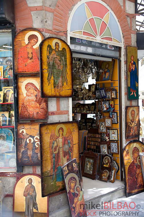 Orthodox religion icons in a shop.<br /> Athens, Greece, Europe.