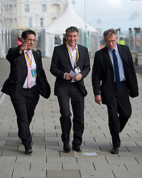 """© London News Pictures. 25/09/2012. Brighton, UK.  L to R Dr Evan Harris (former Lib Dem MP), Actor Steve Coogan and Brian Cathcart (professor of journalism) arriving at the Liberal Democrat Conference in Brighton on September 25, 2012 to meet Deputy Prime Minister Nick Clegg to discuss the """"Hacked Off"""" campaign. Photo credit : Ben Cawthra/LNP."""