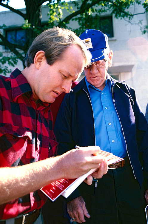 Tennessean Lamar Alexander makes his first run for governor of Tennessee by crisscrossing the state in his red and black plaid shirt and his down home man of the people manner. 1979