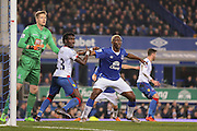 Crystal Palace defender Pape Souare  holds Everton forward Arouna Kone at the corner  during the Barclays Premier League match between Everton and Crystal Palace at Goodison Park, Liverpool, England on 7 December 2015. Photo by Simon Davies.