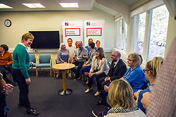 Pictured: Royal College of Nursing Scotland director Theresa Fyffe welcomes Patrick Harvoe, Alison Johnstone and Maggie Chapman to the Royal College of Nursing<br /> Alison Johnstone, health spokeswoman for the Scottish Greens, was joined by party co-conveners Patrick Harvie and Maggie Chapman as she spoke to nurses about pay at the Royal College of Nursing in Edinburgh. The talks came ahead of the party's conference in Edinburgh at the weekend.<br /> <br /> Ger Harley | EEm 20 October 2017