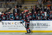 KELOWNA, CANADA - OCTOBER 10:  Nolan Foote #29 of the Kelowna Rockets celebrates a first period goal against the Seattle Thunderbirds on October 10, 2018 at Prospera Place in Kelowna, British Columbia, Canada.  (Photo by Marissa Baecker/Shoot the Breeze)  *** Local Caption ***