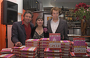 Tom Parker Bowles, Susan Hill and Matthew Rice, Tom Parker Bowles, Susan Hill and Matthew Rice host party to launch 'E is For Eating' Kensington Place. 3 November 2004.  ONE TIME USE ONLY - DO NOT ARCHIVE  © Copyright Photograph by Dafydd Jones 66 Stockwell Park Rd. London SW9 0DA Tel 020 7733 0108 www.dafjones.com