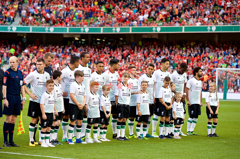 DUBLIN, REPUBLIC OF IRELAND - Saturday, August 5, 2017: Liverpool players line-up before a preseason friendly match between Athletic Club Bilbao and Liverpool at the Aviva Stadium. James Milner, goalkeeper Simon Mignolet, Dejan Lovren, Joel Matip, Trent Alexander-Arnold, Emre Can, Alberto Moreno, Roberto Firmino, Marko Grujic, Divock Origi, Mohamed Salah. (Pic by David Rawcliffe/Propaganda)
