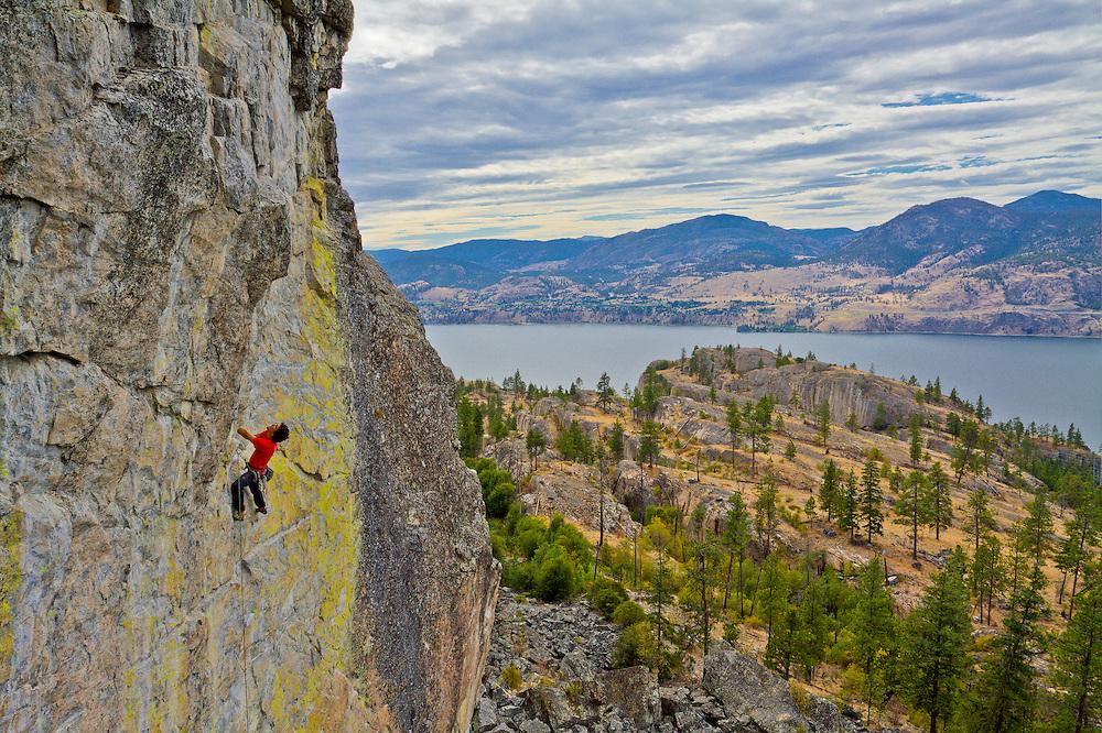 Samuel Lambert climbs Wings of Desire 5.11b at Skaha, British Columbia
