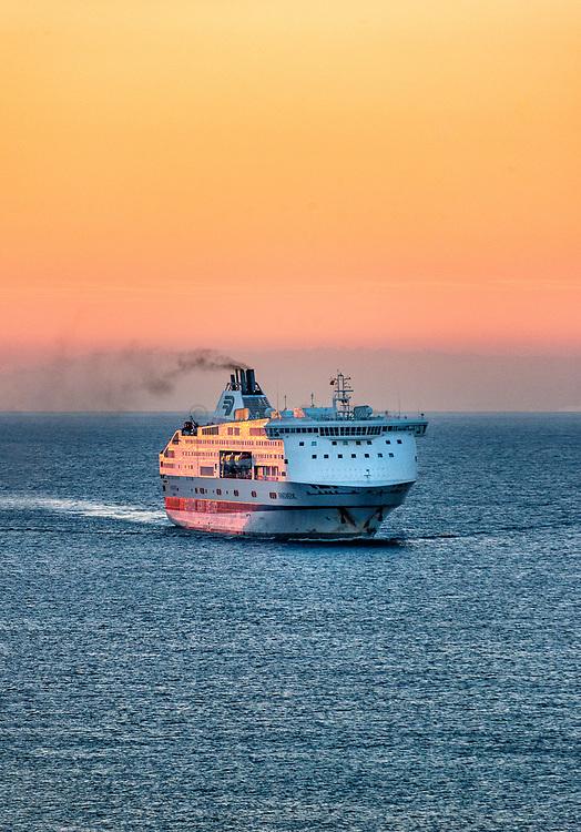 Grandi Navi Veloci ferry at sea on the Genoa-Barcelona-Tangier line.
