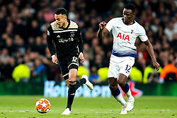 Noussair Mazraoui of Ajax takes on Victor Wanyama of Tottenham Hotspur - Mandatory by-line: Robbie Stephenson/JMP - 30/04/2019 - FOOTBALL - Tottenham Hotspur Stadium - London, England - Tottenham Hotspur v Ajax - UEFA Champions League Semi-Final 1st Leg