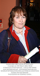 Broadcaster LIBBY PURVES at a luncheon in London on 18th March 2003.	PIB 52