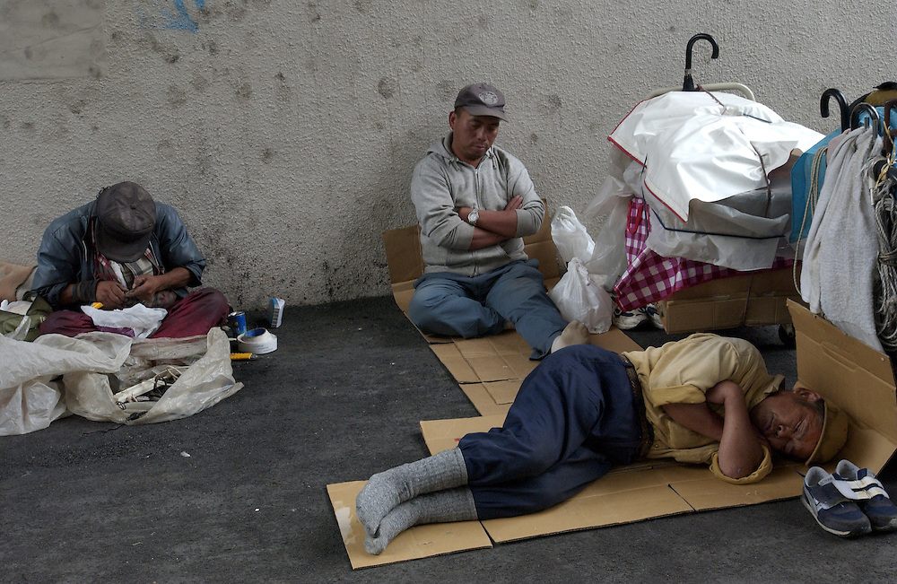 A few of many of Tokyo's homeless sleeps outdoors June 2002..©David Dare Parker/AsiaWorks Photography