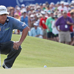 Apr 29, 2012; Avondale, LA, USA; Jason Dufner on the 18th hole during the final round of the Zurich Classic of New Orleans at TPC Louisiana. Mandatory Credit: Derick E. Hingle-US PRESSWIRE