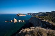 Rocky coast in Cap Prim and Portixol island, Javea, Alicante province, Spain,