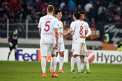 18.02.2016, WWKArena, Augsburg, GER, UEFA EL, FC Augsburg vs FC Liverpool, Sechzehntelfinale, Hinspiel, im Bild Ragnar Klavan ( FC Augsburg ) Markus Feulner ( FC Augsburg ) Ja-Cheol Koo ( FC Augsburg ) nach dem 0:0, // during the UEFA Europa League Round of 32, 1st Leg match between FC Augsburg and FC Liverpool at the WWKArena in Augsburg, Germany on 2016/02/18. EXPA Pictures © 2016, PhotoCredit: EXPA/ Eibner-Pressefoto/ Langer<br /> <br /> *****ATTENTION - OUT of GER*****
