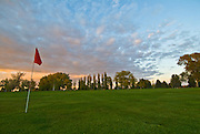 Idaho, Cassia County, Burley. Public golf course along the Snake River at sunset.