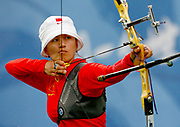 Gold medalist Juan Juan Zhang from China takes aim during the women's individual Archery final at the Olympic games in Beijing, China, 14 August 2008.