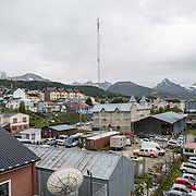 An elevated view over the rooftops of Ushuaia, Argentina.