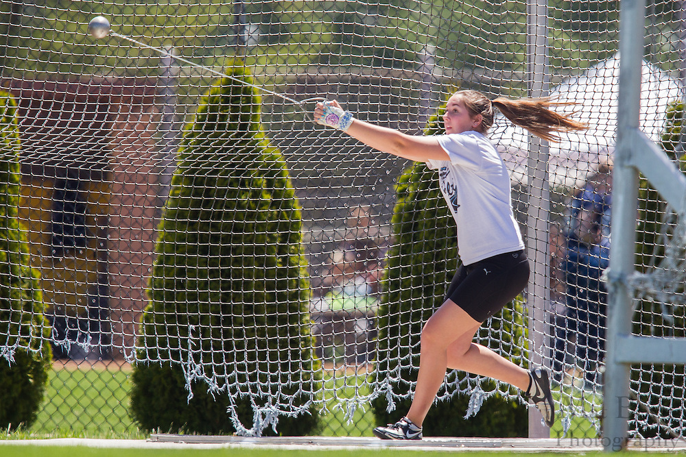 Richard Stockton College's Bree Hudik competes in the women's hammer throw at the NJAC Track and Field Championships at Richard Wacker Stadium on the campus of  Rowan University  in Glassboro, NJ on Saturday May 4, 2013. (photo / Mat Boyle)
