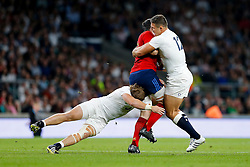 France replacement Loann Goujon is tackled by England replacement Luke Cowan-Dickie and Inside Centre Sam Burgess - Mandatory byline: Rogan Thomson/JMP - 07966 386802 - 15/08/2015 - RUGBY UNION - Twickenham Stadium - London, England - England v France - QBE Internationals 2015.