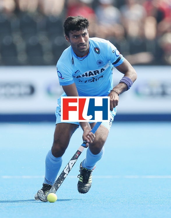 LONDON, ENGLAND - JUNE 18:  Surender Kumar of India  during the Hero Hockey World League Semi-Final match between Pakistan and India at Lee Valley Hockey and Tennis Centre on June 18, 2017 in London, England.  (Photo by Alex Morton/Getty Images)
