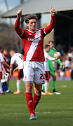 Adam Reach acknowledging supporters after loss during the Sky Bet Championship match between Fulham and Middlesbrough at Craven Cottage, London, England on 25 April 2015. Photo by Matthew Redman.