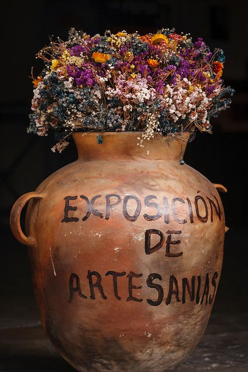 Vase in a gallery door, Antiqua de Guatemala,