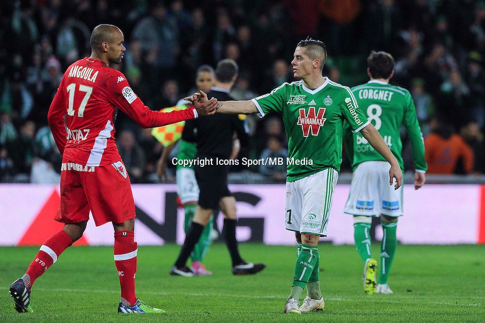 Aldo ANGOULA / Romain HAMOUMA  - 21.12.2014 - Saint Etienne / Evian Thonon - 19eme journee de Ligue 1<br /> Photo : Jean Paul Thomas / Icon Sport