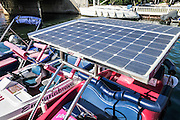 Solar powered boat photographed at Empuriabrava, Costa Brava, Spain