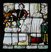 How St Nicholas brought 3 young boys back to life, from a series of windows of the Life of St Nicholas in the Legende Doree or Golden Legend, by Jacques de Voragine, early 13th century, in the Chapelle Notre-Dame in the Eglise Notre-Dame de Caudebec-en-Caux, a Flamboyant Gothic catholic church built 15th and 16th centuries, in Caudebec-en-Caux, Normandy, France. The church is listed as a historic monument. Picture by Manuel Cohen