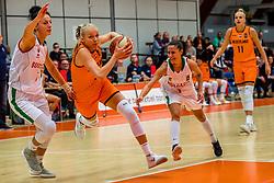 21-11-2018 NED: Netherlands - Bulgaria, Amsterdam<br /> Qualify FIBA Women's EuroBasket 2019 at Sporthallen Zuid Amsterdam / Group Phase Group F, Final Score 89-68 / (L-R) Hristina Ivanova #5 of Bulgaria, Loyce Bettonvil #3 of Netherlands, Viktoriya Stoycheva #1 of Bulgaria