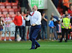Cheltenham Town manager Gary Johnson celebrates after the final whistle - Mandatory by-line: Nizaam Jones/JMP - 12/08/2017 - FOOTBALL - The LCI Rail Stadium - Cheltenham, England - Cheltenham Town v Crawley Town - Sky Bet League Two