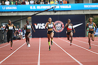 Allyson Felix (C) runs during the finals of the 100m during day 9 of the U.S. Olympic Trials for Track & Field at Hayward Field in Eugene, Oregon, USA 30 Jun 2012..(Jed Jacobsohn/for The New York Times)....