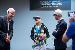 Janja Garnbret with Jernej Pikalo during PZS press conference after IFSC Climbing World Championships in Hachioji (JPN) 2019, on August 23, 2019 at Ministry of Education, Science and Sport, Ljubljana, Slovenia. Photo by Grega Valancic / Sportida