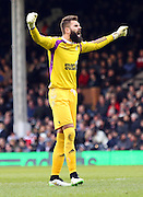 33. Bartosz Bialkowski goal celebration during the Sky Bet Championship match between Fulham and Ipswich Town at Craven Cottage, London, England on 14 February 2015. Photo by Matthew Redman.