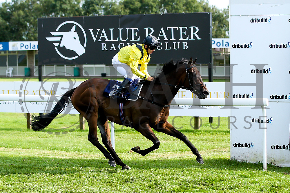 """Cotton Club ridden by Marco Ghiani trained by George Boughey wins the """"""""Hands and Heels"""""""" Apprentice Handicap - Mandatory by-line: Robbie Stephenson/JMP - 27/08/2019 - PR - Bath Racecourse - Bath, England - Race Meeting at Bath Racecourse"""