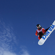 Jarret Thomas, USA, in action during the Men's Half Pipe Finals at the Burton New Zealand Open 2011 held at Cardrona Alpine Resort, Wanaka, New Zealand, 13th August 2011. Photo Tim Clayton