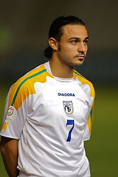 Nicosia, Cyprus - Saturday, October 13, 2007: Cyprus' Efstathios Aloneftis lines-up to face Wales during the Group D UEFA Euro 2008 Qualifying match at the New GSP Stadium in Nicosia. (Photo by David Rawcliffe/Propaganda)