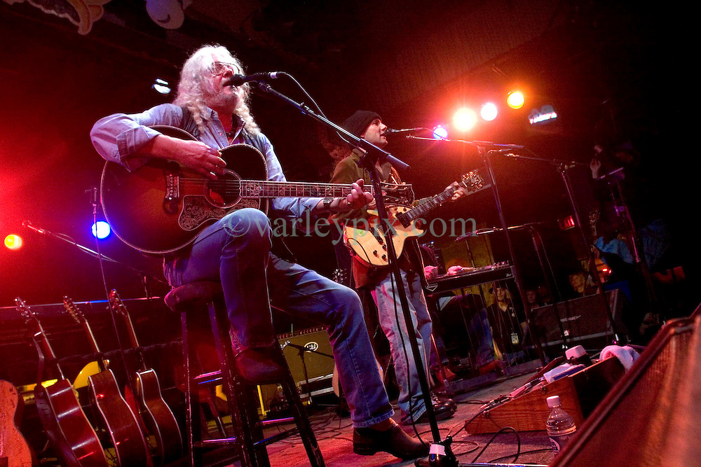 17 December, 05. Tipitina's, New Orleans, Louisiana.<br />  Arlo Guthrie and friends Riding on the city of New Orleans tour benefiting Musicares Hurricane relief 2005 sponsored by Amtrak. Arlo Guthrie on stage. <br /> Photo; ©Charlie Varley/varleypix.com