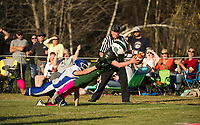 IL/MA's Chase Harper can't bring down Newfound's Cody McGee as he stretches over the goal line during NHIAA Division III football on Saturday afternoon.  (Karen Bobotas/for the Laconia Daily Sun)