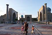 Uzbekistan, Samarqand.<br /> Registan ensemble at sunset.