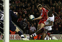 Photo: Paul Thomas.<br /> Liverpool v Arsenal. The FA Barclays Premiership. 28/10/2007.<br /> <br /> Steven Gerrard (Red) of Liverpool has his shot stopped by William Gallas (R).