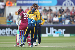 July 1, 2019 - Chester Le Street, County Durham, United Kingdom - Sri Lanka's Lasith Malinga celebrates after dismissing West Indies'  Sunil Ambris during the ICC Cricket World Cup 2019 match between Sri Lanka and West Indies at Emirates Riverside, Chester le Street on Monday 1st July 2019. (Credit Image: © Mi News/NurPhoto via ZUMA Press)
