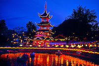 Chinese Tower (Chinese Pagoda) (Kinesiske Tarn) (Tivoli Lake in foreground), Tivoli Gardens (Tivoli Amusement Park), Copenhagen, Denmark