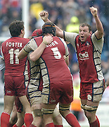 Twickenham, ENGLAND, Gloucester players celebrate at the final whistle at the end of the  European Challenge Cup, Gloucester Rugby vs London Irish, at the Twickenham Stoop, 21.05.2006. © Peter Spurrier/Intersport-images.com,  / Mobile +44 [0] 7973 819 551 / email images@intersport-images.com.   [Mandatory Credit, Peter Spurier/ Intersport Images].